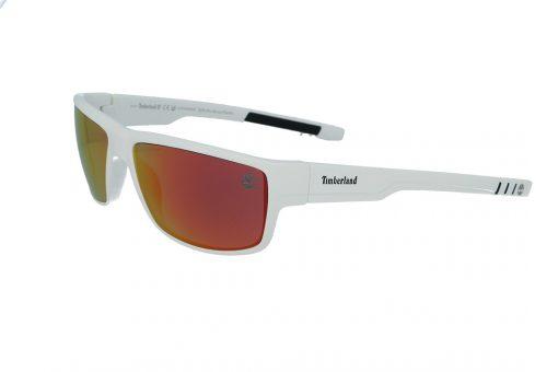 משקפי שמש טימברלנד Timberland בדגם מרובע בגוון לבן ועדשות פולארויד בגוון אדום מראה