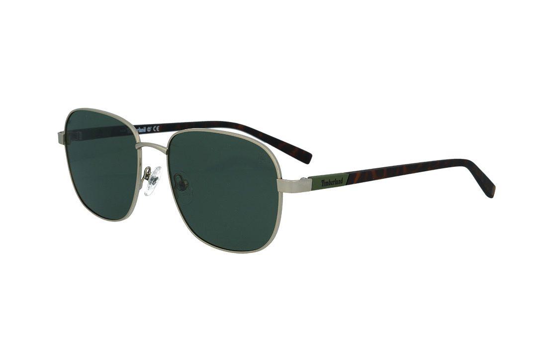 משקפי שמש טימברלנד Timberland בדגם מרובע בגוון כסוף ועדשות פולארויד בגוון ירוק