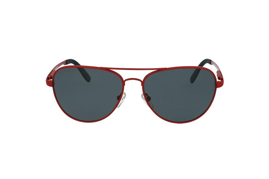 משקפי שמש מבית Polaroid בדגם טייסים יוניסקס בגוון אדום ועדשות פולראויד להגנה מקסימלית
