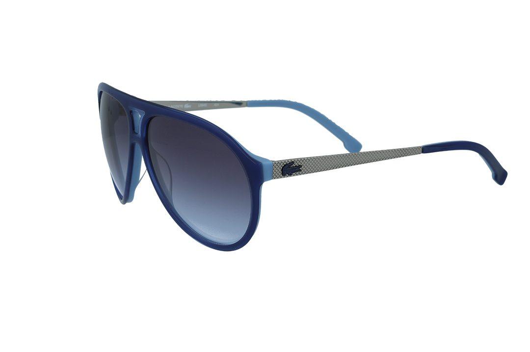 משקפי שמש מבית LACOSTE בדגם טייסים בגווני כחול וכסף ועדשות תואמות