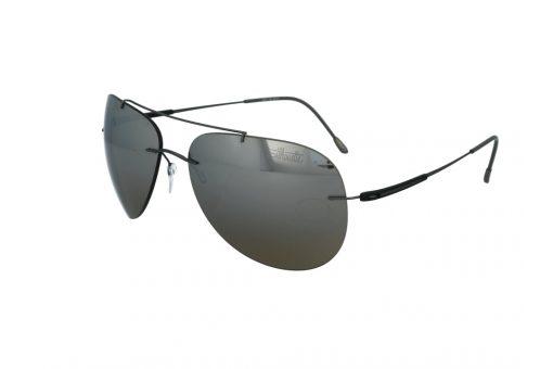 משקפי שמש מבית Silhouette בדגם טייסים עם זרועות גמישות ועדשות מראה זהובות