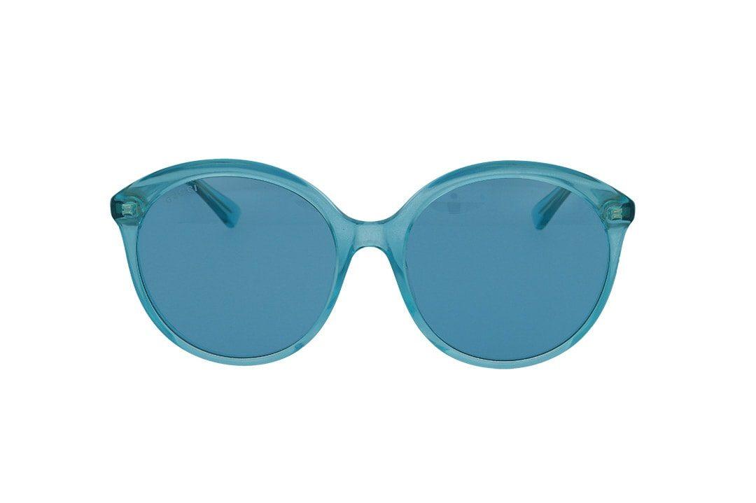 משקפי שמש מבית Gucci בדגם אובר סייז חתולי בגוון תכלת ועדשות תואמות