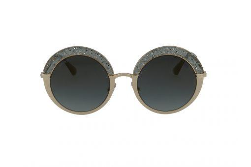 משקפי שמש מבית Jimmy Choo בדגם עגול בגווני זהב וכסף מנצנץ ועדשות תואמות