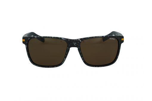 משקפי שמש מבית JULBO בדגם מרובע בגוון מנומר שחור ועדשות בגוון חום