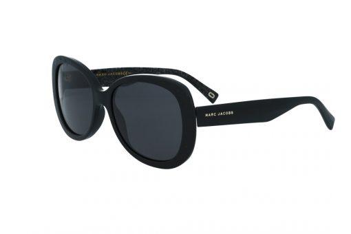 משקפי שמש מבית Marc Jacobs בדגם אובר סייז בגוון שחור כלפי חוץ ושחור מנצנץ כלפי פנים ועדשות תואמות