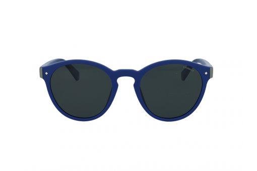משקפי שמש מבית Polaroid בדגם יוניסקס עגול בגוון כחול ועדשות כהות