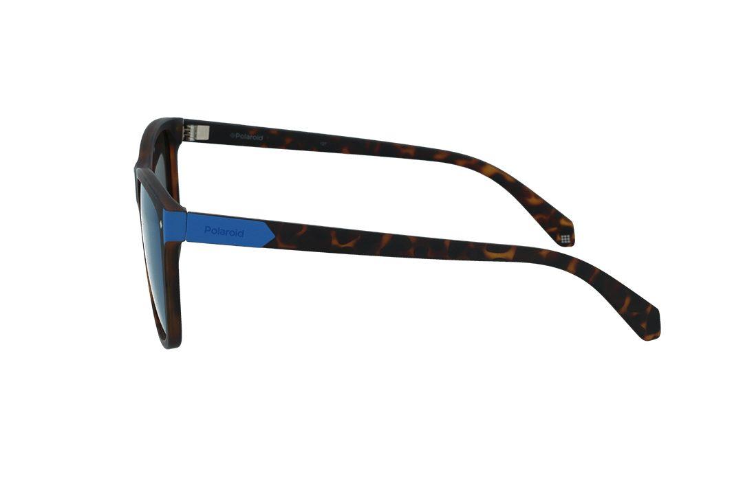 משקפי שמש מבית Polaroid בדגם יוניסקס מרובע בגוון מנומר ועדשות מראה בגוון כחול