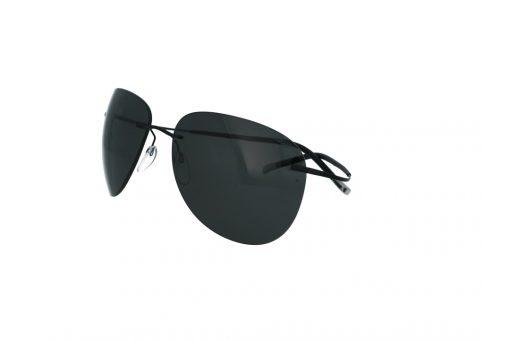 משקפי שמש מבית Silhouette בדגם גברי עגול עם זרועות גמישות ועדשות בגוון כהה