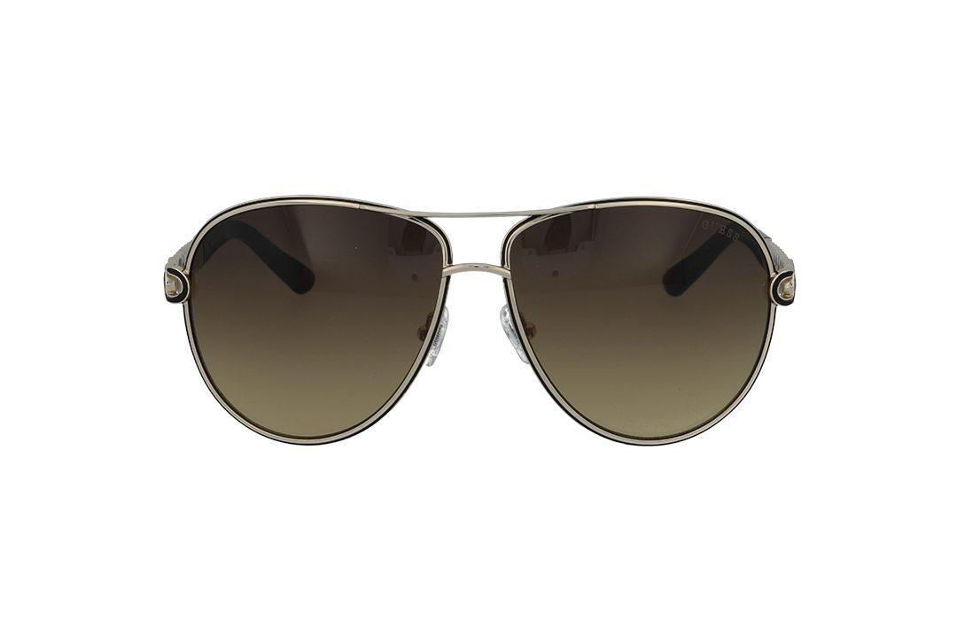 משקפי שמש מבית Guess בדגם טייסים נשי בגווני זהב שחור ומנומר עם זרוע דקורטיבית