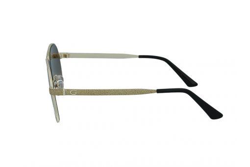 משקפי שמש מבית Guess בדגם טייסים נשי בגוון זהב מנצנץ ועדשות תואמות