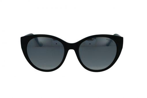 משקפי שמש מבית Guess בדגם אובר סייז חתולי בגוון שחור ועדשות מראה אפורות