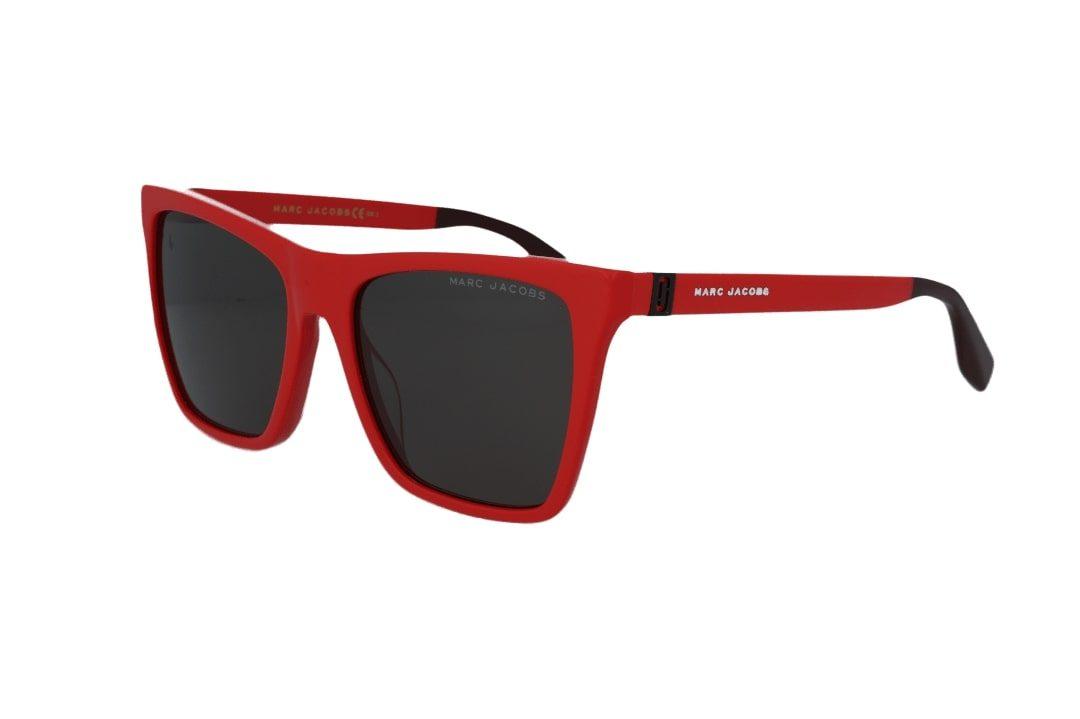 משקפי שמש מבית Marc Jacobs בדגם מרובע עם אדג' חתולי בגוון אדום ועדשות כהות