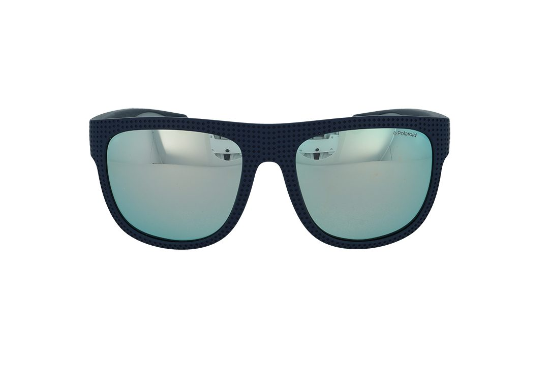 משקפי שמש מבית Polaroid בדגם ספורטיבי מרובע בטקסטורת נקודות בגוון כחול ועדשות מראה אפורות