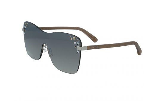 משקפי שמש מבית Jimmy Choo בדגם מסיכה נשי עם עיטורי אבני חן בצידי העדשות