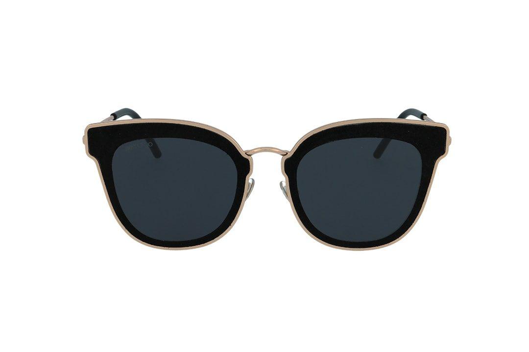 משקפי שמש מבית Jimmy Choo בדגם חתולי בגווני שחור וזהב ועדשות כהות