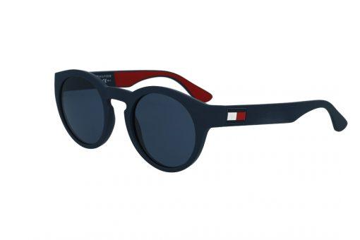 משקפי שמש מבית Tommy Hilfiger בדגם עגול בגוון כחול מט ולוגו בצידי הזרועות