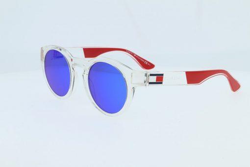 משקפי שמש מבית Tommy Hilfiger בדגם עגול בגווני שקוף ואדום ולוגו בצידי הזרועות