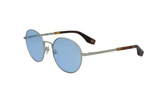 משקפי שמש מבית Marc Jacobs בדגם עגול בגוון זהוב ועדשות בגוון תכלת