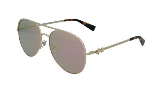 משקפי שמש מבית Marc Jacobs בדגם טייסים עם גשר אף כפול בגוון זהוב ועדשות מראה ורודות