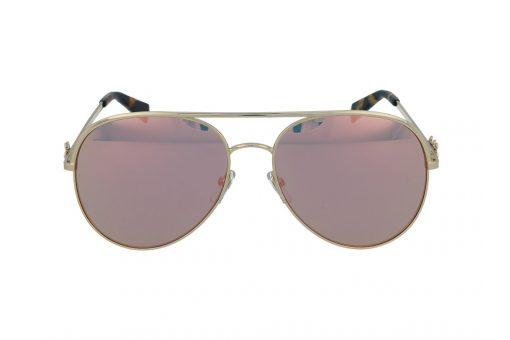 משקפי שמש מבית Marc Jacobs בדגם טייסים נשי עם גשר אף כפול ועדשות מראה בגוון ורוד