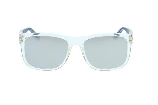 משקפי שמש מבית Tommy Hilfiger בדגם גברי מרובע בגווני שקוף ושחור עם עדשות מראה ולוגו בצידי הזרועות