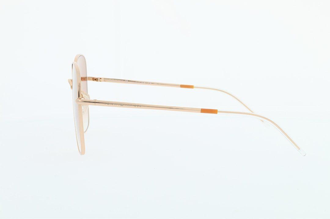 משקפי שמש מבית Tommy Hilfiger בדגם אובר סייז מרובע בגוון רוז גולד ועדשות תואמות מדורגות