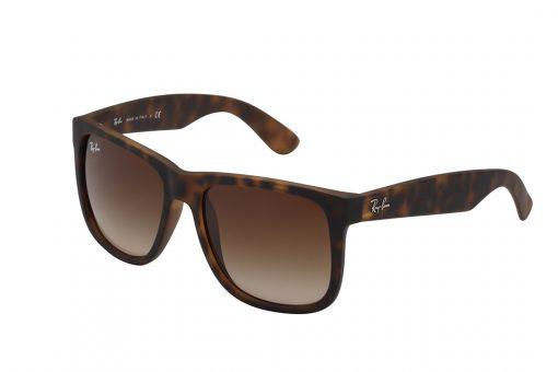 משקפי שמש מבית Ray Ban בדגם ג'סטין אייקוני בגוון מנומר ועדשות בגוון חום