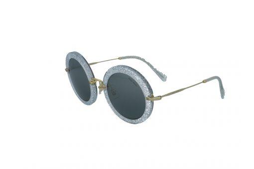 משקפי שמש מבית Miu Miu בדגם אובר סייז עגול בגוון כסוף מנצנץ ועדשות כהות