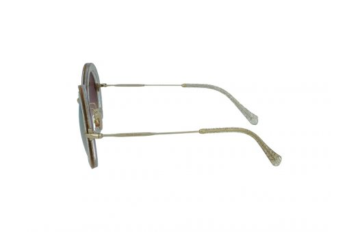 משקפי שמש מבית Miu Miu בדגם אובר סייז עגול בגוון זהוב  מנצנץ ועדשות מראה