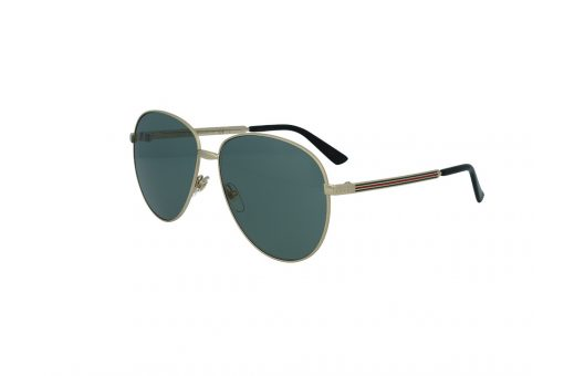 משקפי שמש מבית Gucci בדגם טייסים בגוון זהב ועדשות בגוון ירוק