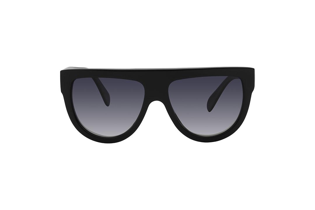 """משקפי שמש מבית סלין, הדגם האייקוני שאומץ ע""""י כוכבות על ברחבי העולם עשוי אצטט מינרלי בשחור מבריק עם 3 הניטים המאפיינים את המותג ועדשות בגוון אפור מדורג"""