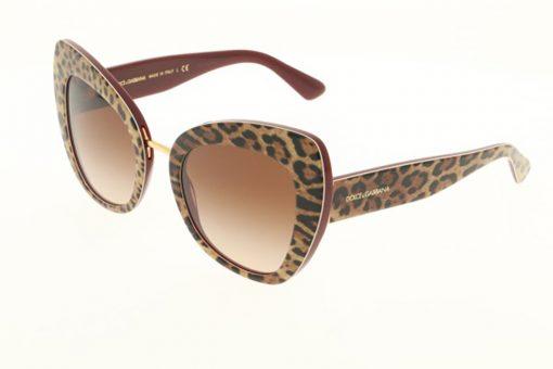 משקפי שמש מבית Dolce&Gabbana בדגם חתולי בגוון מנומר ועדשות בגוון חום