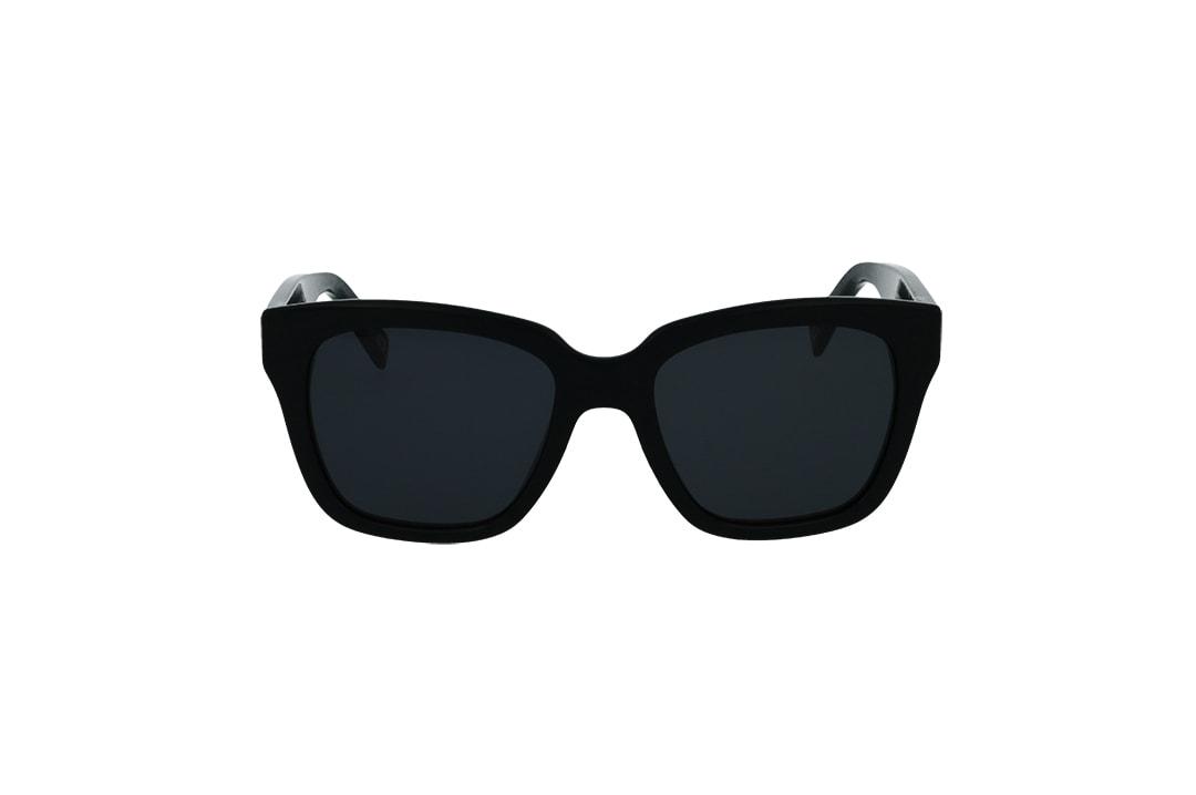 משקפי שמש מבית Marc Jacobs בדגם מרובע בגוון שחור כלפי חוץ ושחור מנצנץ כלי פנים ועדשות תואמות