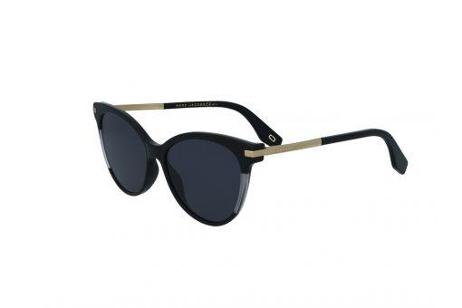 משקפי שמש מבית Marc Jacobs בדגם חתולי בגווני זהב שחור ושקוף ועדשות תואמות