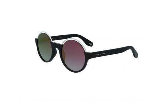 משקפי שמש מבית Marc Jacobs בדגם עגול בשילוב מתכת בגוון לבן מסביב לעדשה ועדשות מראה ורודות