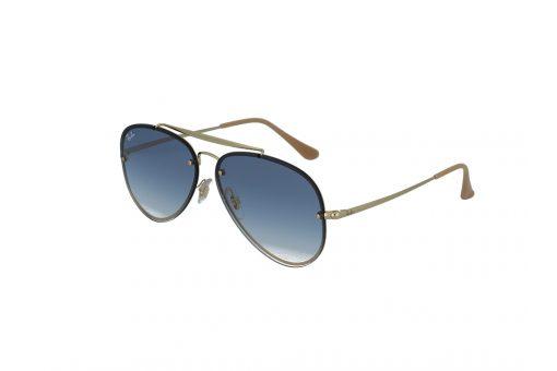 משקפי טייסים מקולקציית בלייז מבית רייבן מסגרת נסתרת וזרועות במתכת בצבע זהב גשר כפול ועדשות שטוחות בגוון כחול אפור מדורג ,
