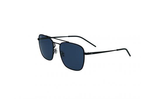 משקפי שמש מבית Ray Ban בדגם טייסים מרובע בגוון שחור עם גשר אף כפול ועדשות כחולות