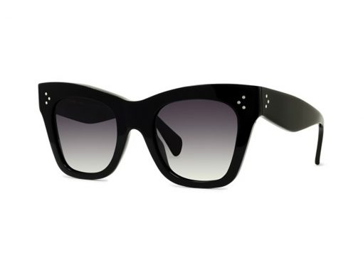 משקפי שמש מבית סלין, דגם קתרין אחד הדגמים האייקונים של סלין, מסגרת אצטט עם 3 הניטים המאפיינים את המותג בשחור מבריק המאפיין את סלין עם עדשות בגוון אפור מדורג