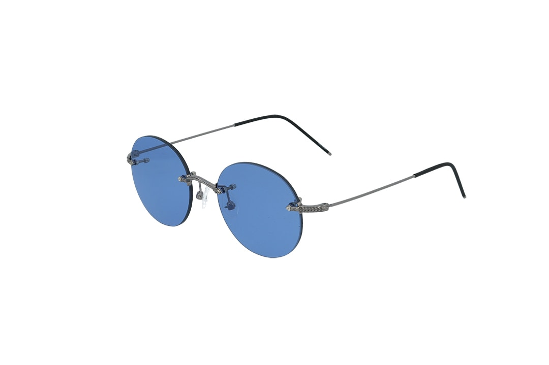 משקפי שמש מבית Cool ray בדגם יוניסקס עגול ללא מסגרת בגוון כסוף ועדשות בגוון כחול