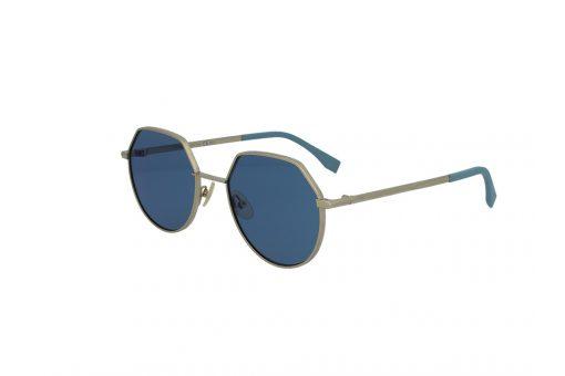 משקפי שמש מבית Fendi בדגם יוניסקס בגוון זהוב ועדשות בגוון כחול