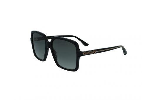 משקפי שמש מבית GUCCI בדגם אובר סייז מרובע בגוון שחור עם לוגו המותג בזרועות ועדשות תואמות