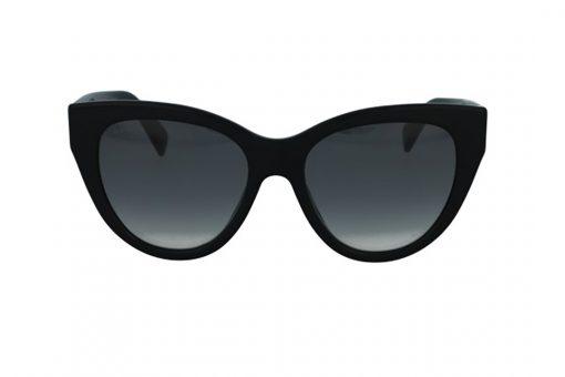 משקפי שמש מבית Gucci בדגם אובר סייז חתולי בגוון שחור עם לוגו המותג בצידי הזרועות ועדשות כהות