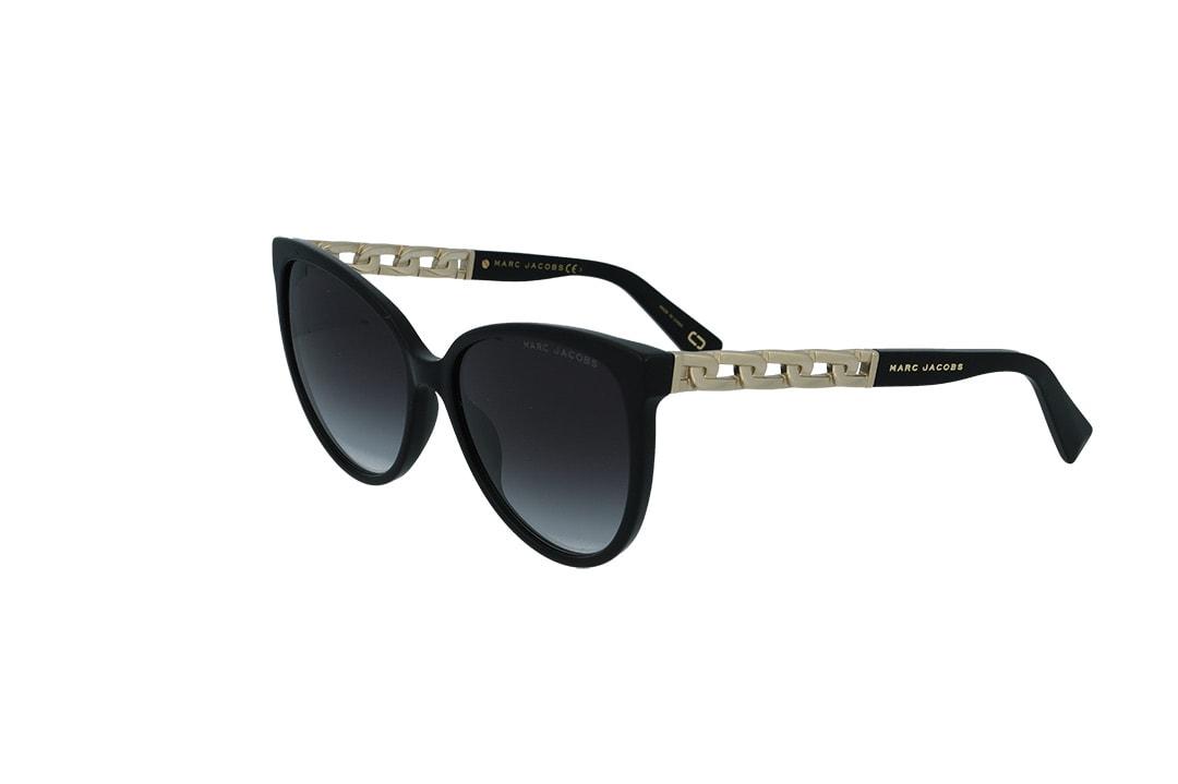 משקפי שמש מבית Marc Jacobs בדגם אובר סייז חתולי בגווני שחור וזהב ועדשות מדורגות
