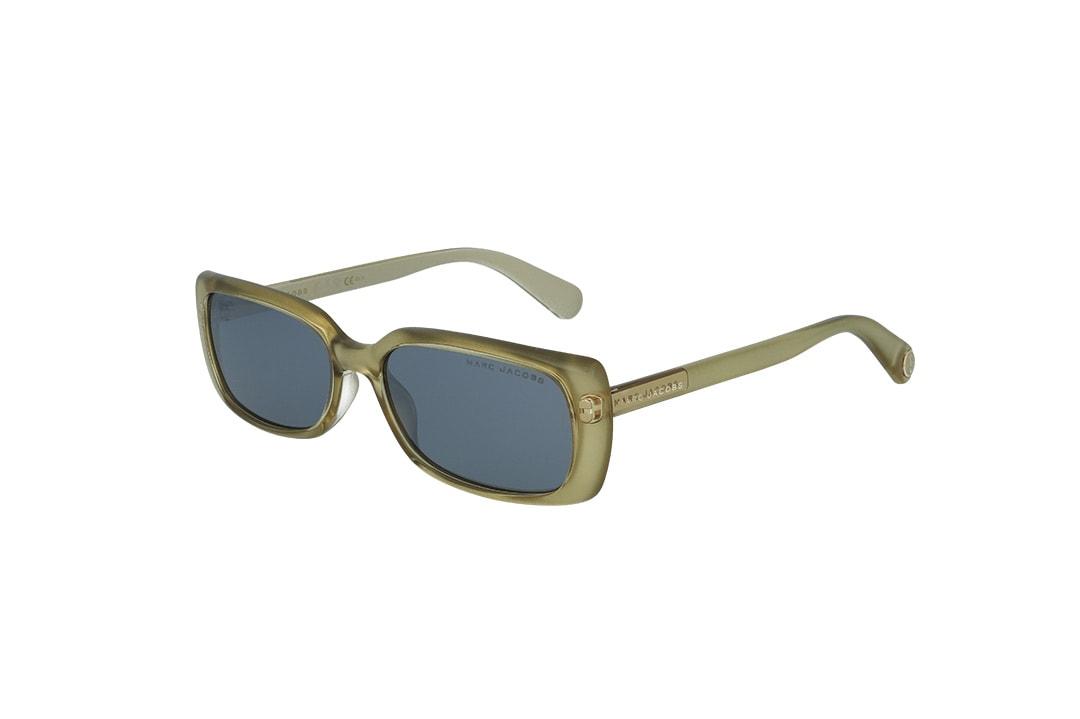 משקפי שמש מבית Marc Jacobs בדגם מלבני בגוון זהב ועדשות מראה אפורות