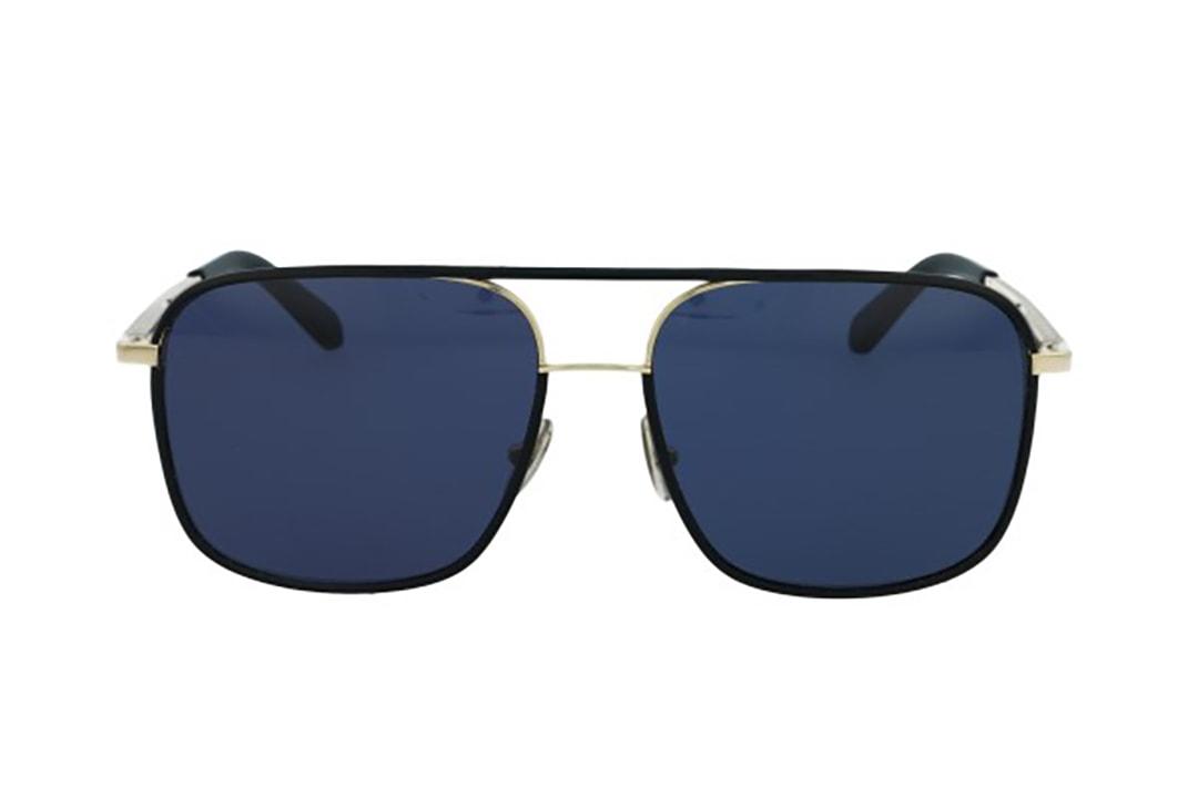 משקפי שמש מבית Roberto Cavalli בדגם מרובע גברי בגווני זהב ושחור עם גשר אף כפול ועדשות כחולות