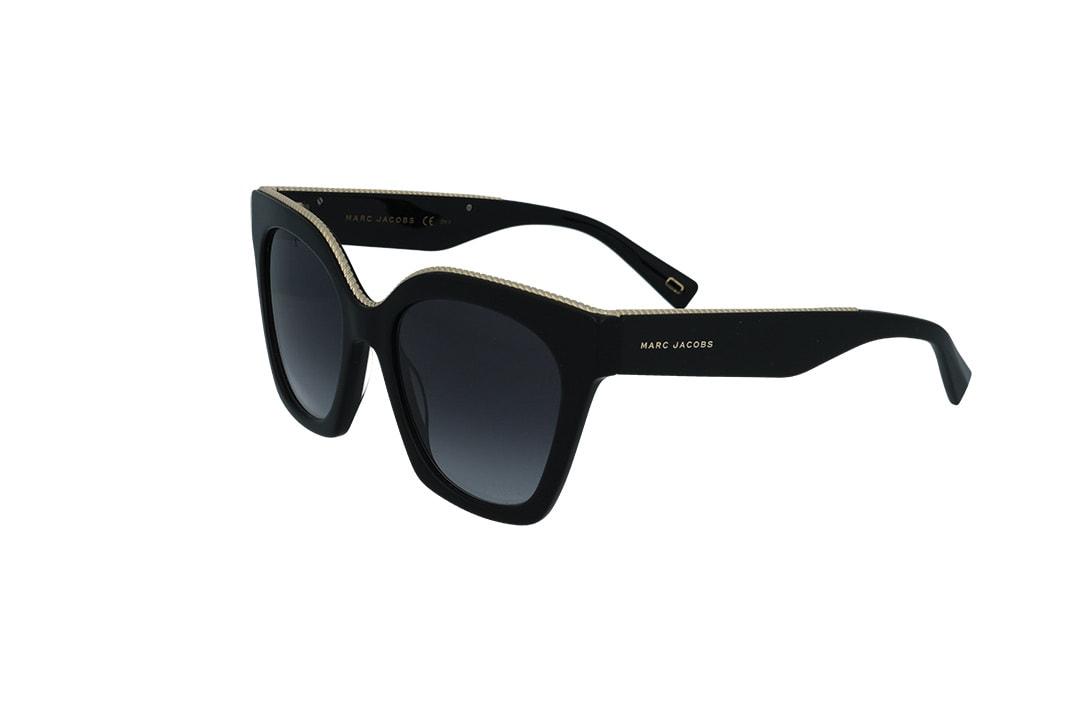 משקפי שמש מבית Marc Jacobs בדגם אובר סייז חתולי עם מסגרת שחורה ועיטורי זהב