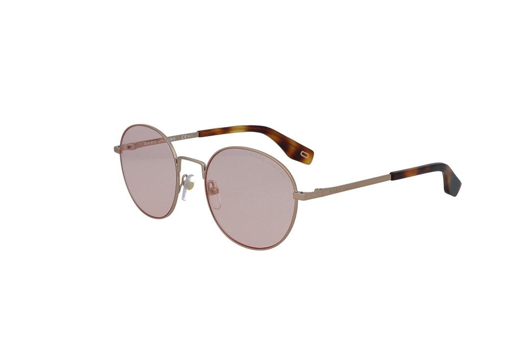 משקפי שמש מבית Marc Jacobs בדגם עגול בגוון זהוב-מנומר ועדשות בגוון ורוד בהיר