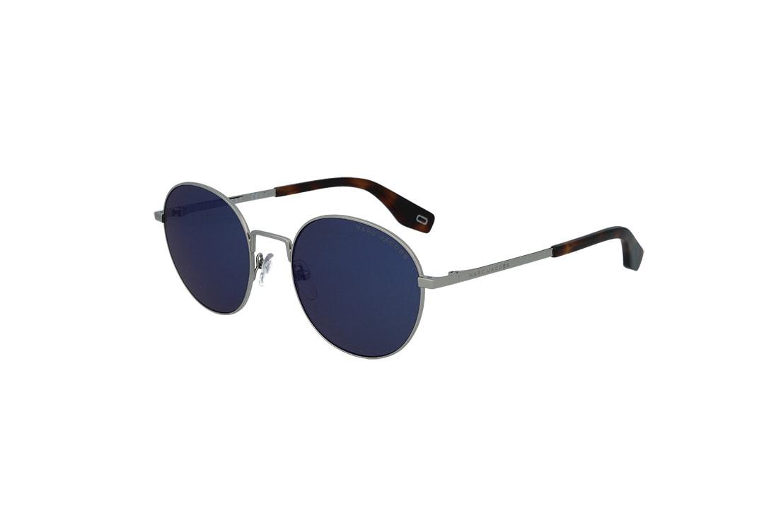 משקפי שמש מבית Marc Jacobs בדגם יוניסקס עגול בגוון כסוף-מנומר ועדשות בגוון כחול כהה