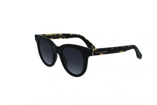 משקפי שמש מבית Marc Jacobs בדגם עגול בגוון שחור וזרועות בגוון מנומר עם עדשות תואמות