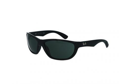 משקפי שמש ספורטיבים מבית רייבן, מסגרת פלסטיק בשחור מבריק עם עדשה ירוקה למבנה פנים רחב